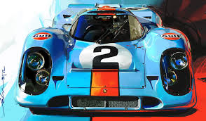 vintage porsche blue gulf porsche 917 by john krsteski cars le mans and car illustration