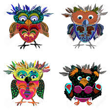 set of cute owl cartoon drawing cute illustration for children