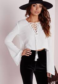 white bell sleeve blouse bell sleeve tie up blouse white bell sleeve tops