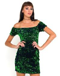 green sequins or black body con dress on the hunt