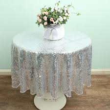 online get cheap round silver tablecloth aliexpress com alibaba 48 round silver sparkly sequin table overlay glitter linen tablecloths wedding party decor