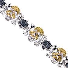 gold skull bracelet men images Yellow blue diamond skull bracelet 14k white gold 3 01 ct jpg