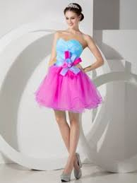 baby blue and pink mini length prom dress in organza with hand
