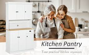 homcom kitchen pantry cupboard wooden storage cabinet organizer shelf white homcom 71 wood kitchen pantry storage cabinet microwave oven stand with storage white oak grain