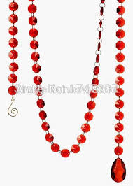 Acrylic Chandelier Beads by 5chains Lot Red Color Octagonal Glass Crystal Strands Crystal