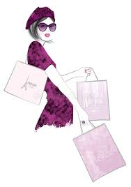 pretty woman shopping in paris stock vector image 74988608