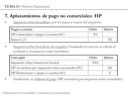 pagos a cuenta y retenciones del impuesto a la renta por introducción a la contabilidad tema 10 pasivos financieros