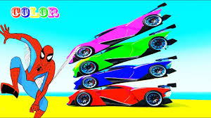 learn color sport cars fun for children w spiderman superheroes