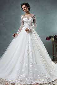 wedding dresses ideas scoop neck long sleeves ball lace ivory
