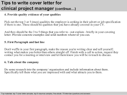 clinical research cover letter clinical project manager cover letter