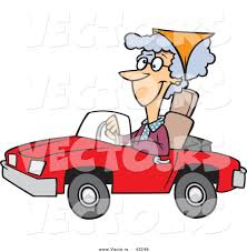 vector of a happy cartoon old lady driving a red convertible car