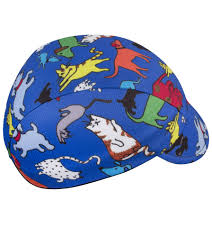 childs cycling cap it u0027s raining cats and dogs print blue
