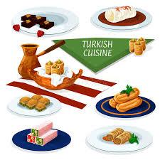 cuisine ottomane cuisine desserts menu icon stock vector