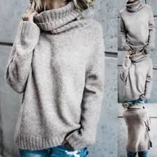 knit oversized sweater womens polo neck winter tops chunky knitted oversized