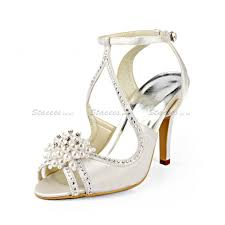 pearl wedding shoes sandals low heel as picture pu with imitation pearl wedding shoes