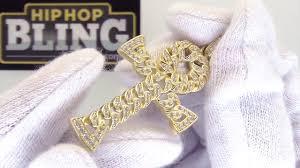 925 sterling silver gold cuban ankh cross bling bling cz youtube