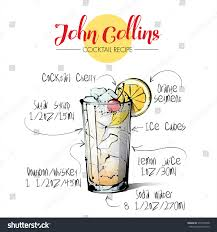 tom collins ingredients hand drawn illustration cocktail john collins stock vector