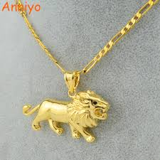 animal gold necklace images Anniyo gold lion necklace for women men gold color lions head jpg