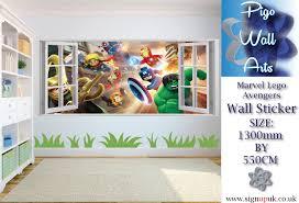 lego marvel wall sticker avengers 3d effect window kids bedroom marvel lego avengers wall sticker