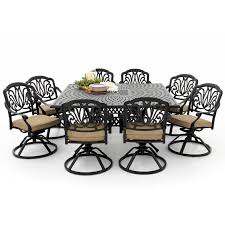 Cast Aluminum Patio Furniture Clearance by Rosedown 9 Piece Cast Aluminum Patio Dining Set With Swivel