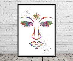 buddha and lotus flower buddha face watercolor art print
