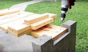 making a modern outdoor concrete wood bench