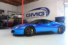 chrome ferrari 458 spider impressive wrapped gmg blue chrome ferrari