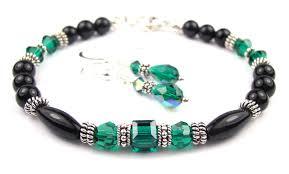 beaded black bracelet images Black onyx bracelet and earrings set w simulated green emerald in jpg