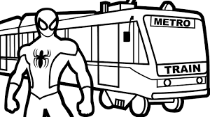 spiderman and train coloring pages for kids coloring book kids fun