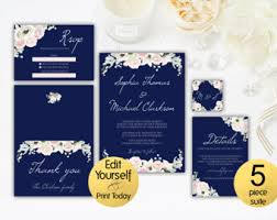 navy blue wedding invitations navy wedding invites etsy