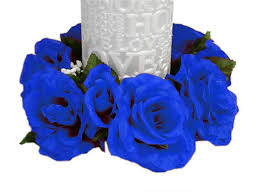 blue roses for sale 16 candle rings with silk roses wedding party flowers for