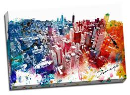 Colorful City Amazon Com Colorful Downtown Chicago Urban Painting Canvas Wall