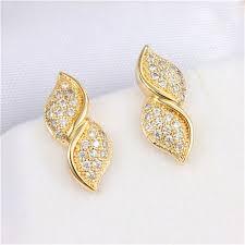 stylish gold earrings aliexpress buy stacked leaf filled stylish stud earring18k