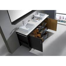 60 inch modern double sink bathroom vanity grey finish stone top