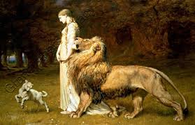 lion print canvas art print una the lion painting by briton rivière size