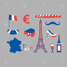 Frebch Flag Paris Icons Set Traditional French National Symbols Eiffel Tower