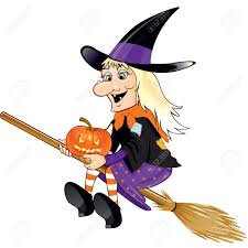 old halloween witch with pumpkin and broom flying transparency