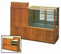 wooden combination display case and cash register stand retail