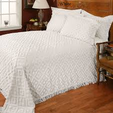 King Size White Coverlet Diamond Cotton Chenille Bedspread Bedding
