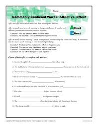 affect vs effect worksheet commonly confused words