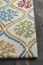 Red Blue Rug Terra Collection Hand Tufted Area Rug In Cream Blue Green U0026 Red