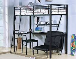 Black Bunk Bed With Desk Acme Senon Silver And Black Loft Bed With Desk