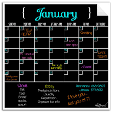 Monthly Weekly Calendar Wall Decal Set Fluorescent