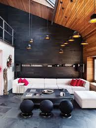 canapé industriel design interieur déco style industriel salon parement mural ardoise