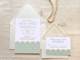 deco wedding invitations mint and gold scallops deco wedding invitations gatsby