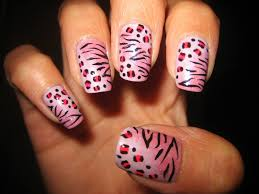 awesome nails by nicole pink gradient animal print design