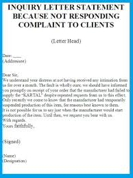 inquiry letter statement sorry for not responding complaint