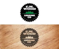 wood company masculino atrevido logo design for c w wood logging company by