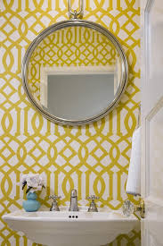 yellow wallpaper border ideas bathroom transitional with round