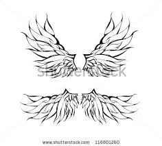 tribal wings tattoo design vector stock vector 116801260